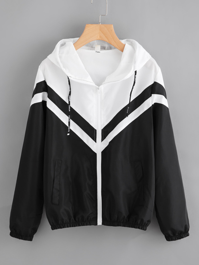 Two Tone Hooded Zip Up Jacket