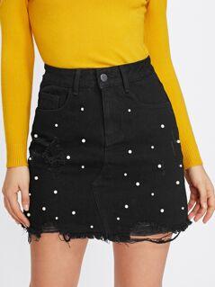 Pearl Detail Ripped Raw Cut Hem Skirt
