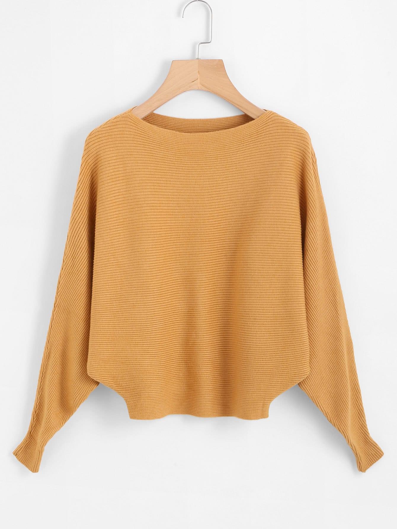 Dolman Sleeve Ribbed Jumper sweater171017071