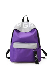 Contrast Zipper Front Letter Print Canvas Backpack