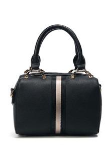 PU Striped Handbag With Strap