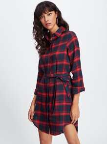 Hidden Placket Dolphin Hem Check Shirt Dress