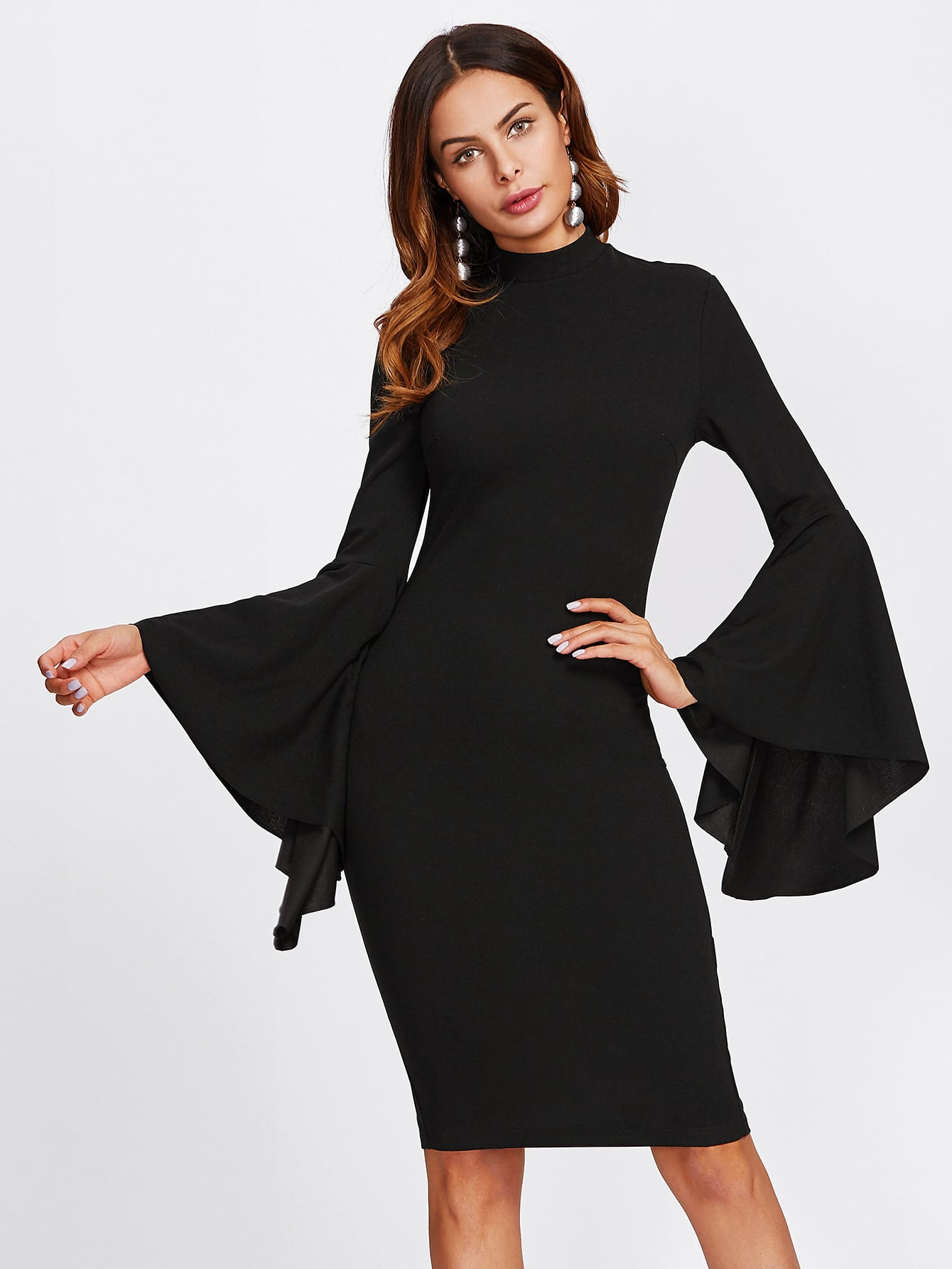 Mock Neck Exaggerate Bell Sleeve Dress exaggerate bell sleeve buttoned keyhole dress