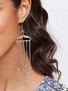 Turquoise Detail Chain Tassel Drop Earrings