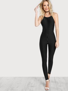 Cross Back Backless Pinstripe Jumpsuit