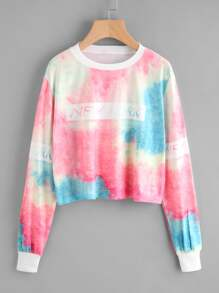 Water Color Letter Print Sweatshirt