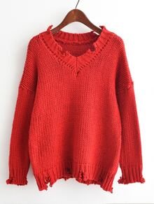V-neckline Drop Shoulder Frayed Jumper