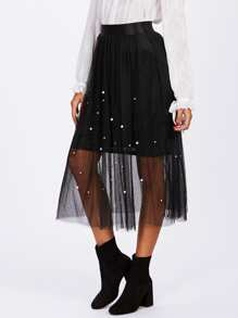 Pearl Beaded Mesh Overlay Skirt