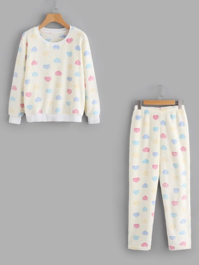 Heart Fleece Pajama Set