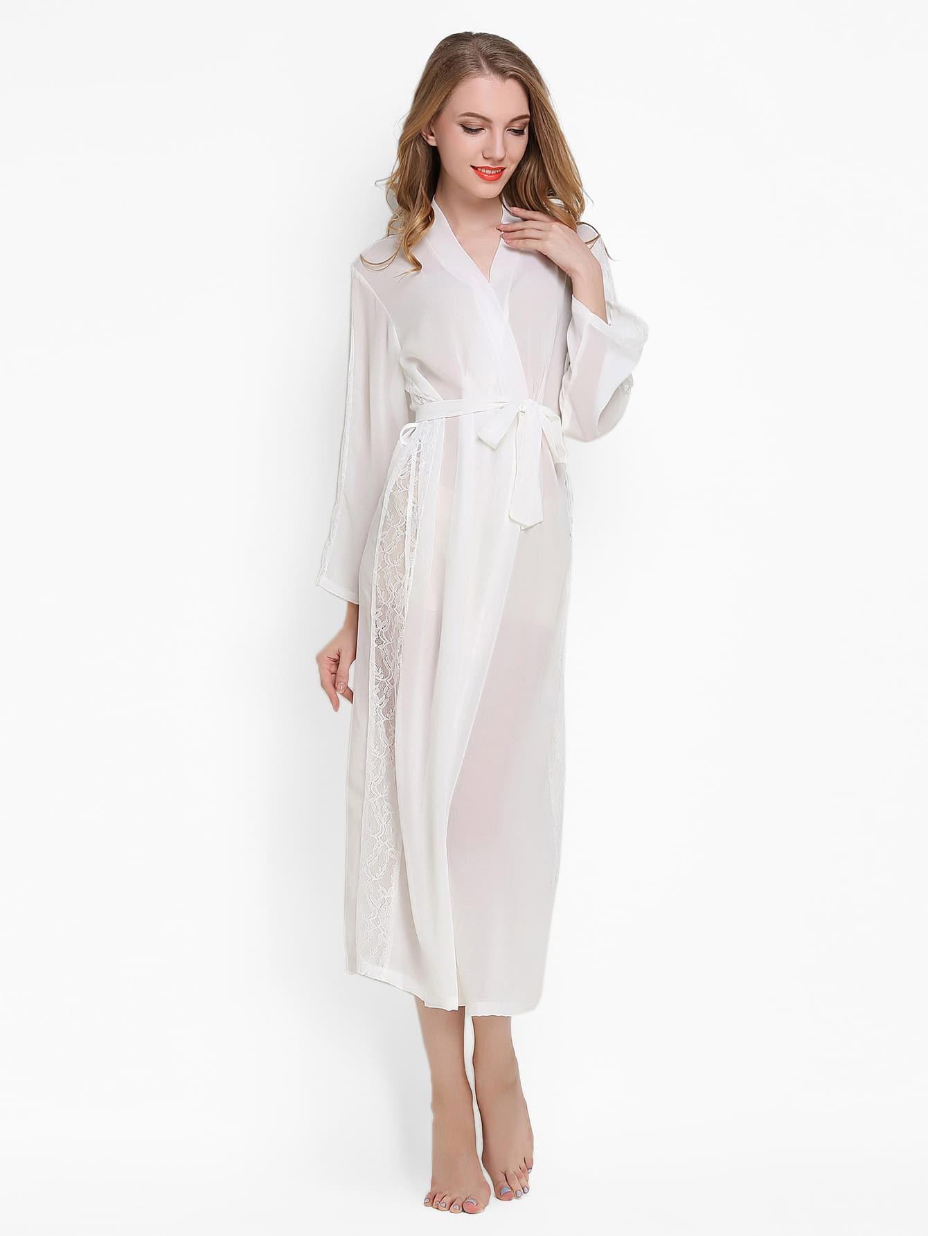 Купить Притягательный стиль Одноцветный Белые Халат, null, SheIn