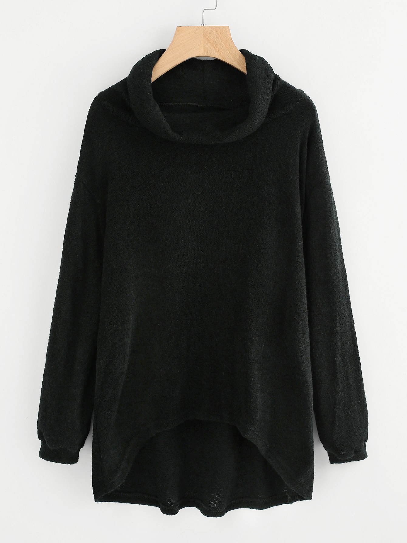 High Neck Dip Hem Knit Sweater cable knit high neck sweater cardigan