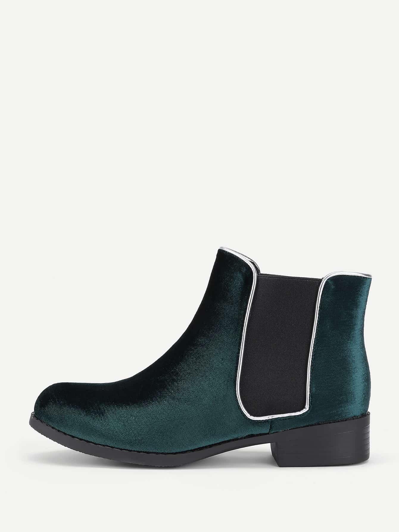 Round Toe Velvet Chelsea Boots heeled chelsea boots