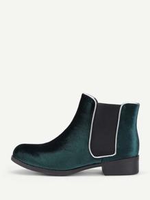 Round Toe Velvet Chelsea Boots