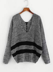 Stripe Contrast Lace Up Back Sweater