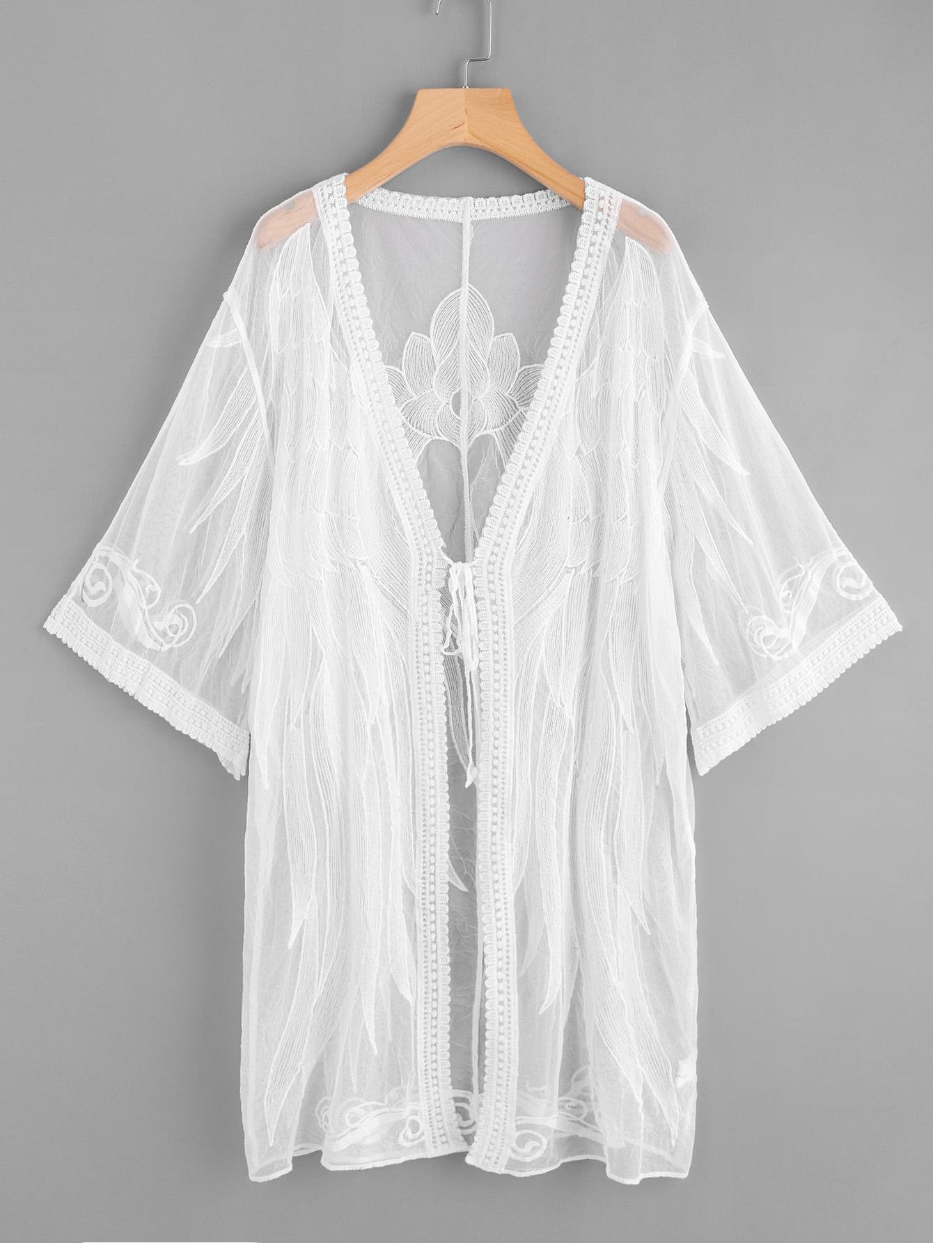 Купить Прозрачное кимоно с вышивкой, null, SheIn