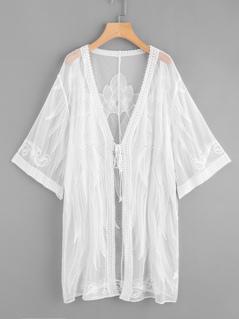 Tie Front Embroidered Mesh Kimono