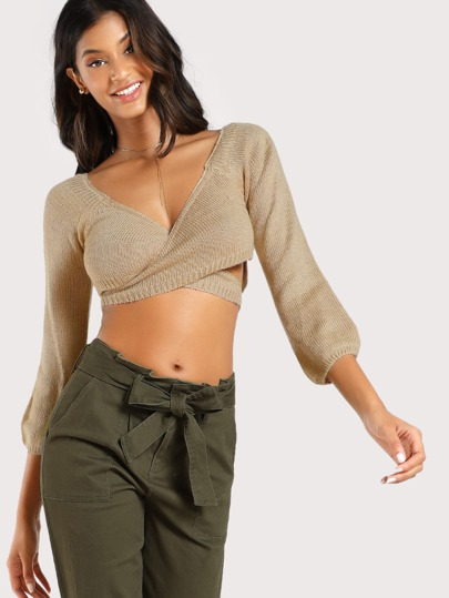 Wrapped Cross Over Crop Sweater TAUPE