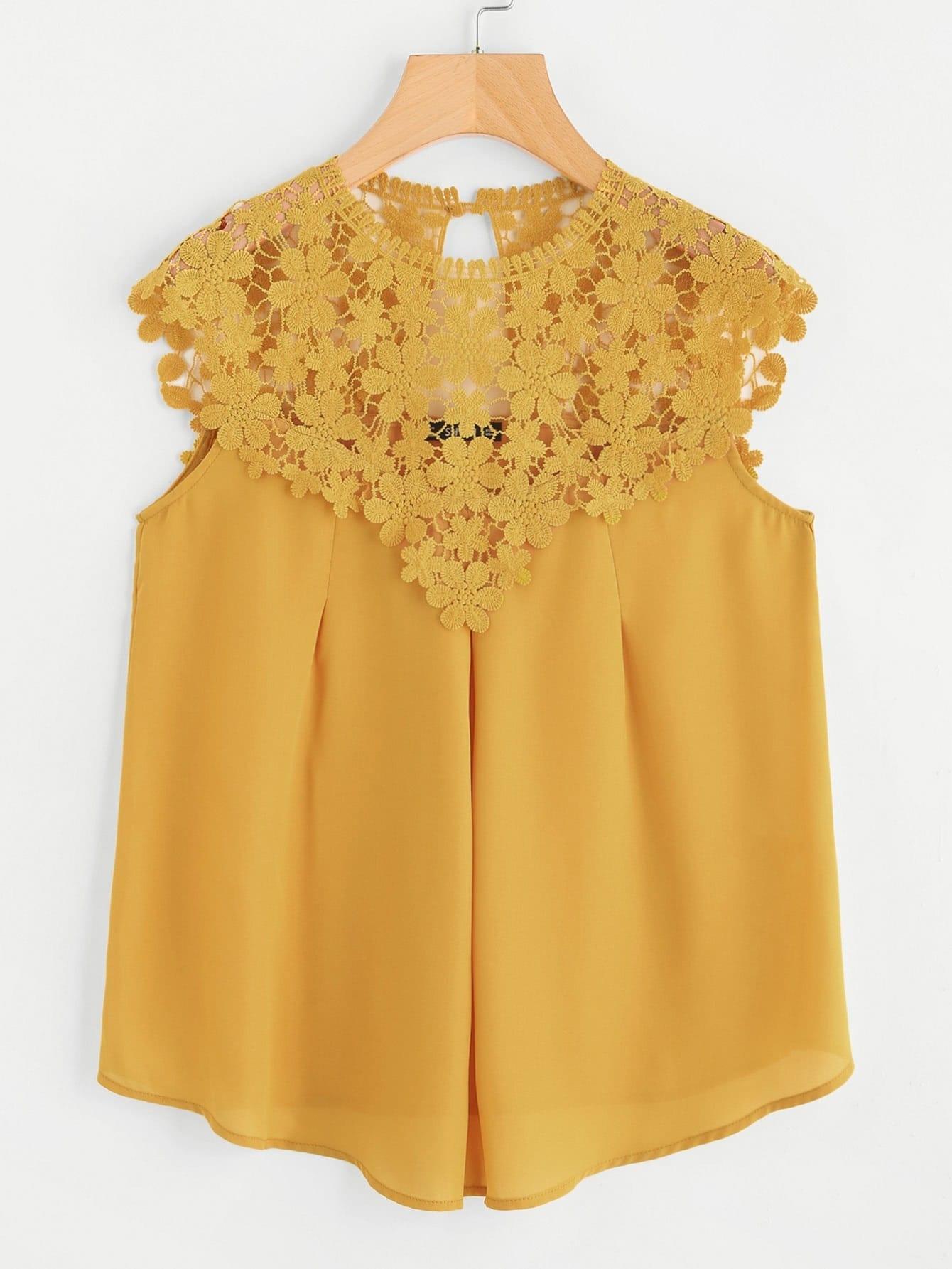 Keyhole Back Daisy Lace Shoulder Shell Top blouse171026705