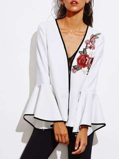 Pearl Embellishing Rose Patch Fluted Sleeve Ringer Blazer