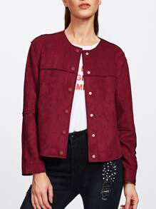 Snap-Button Suede Jacket