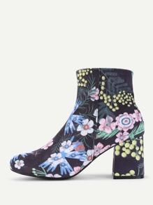 Flower Print Side Zipper Ankle Boots
