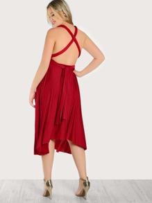 Self Tie Halter Flowy Dress RED