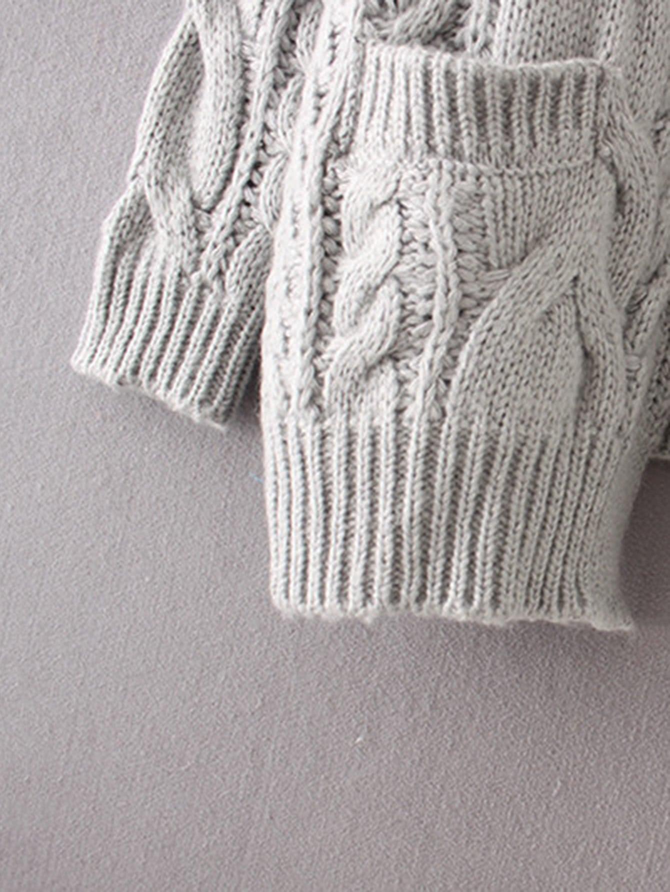 Drop Shoulder Cable Knit Cardigan