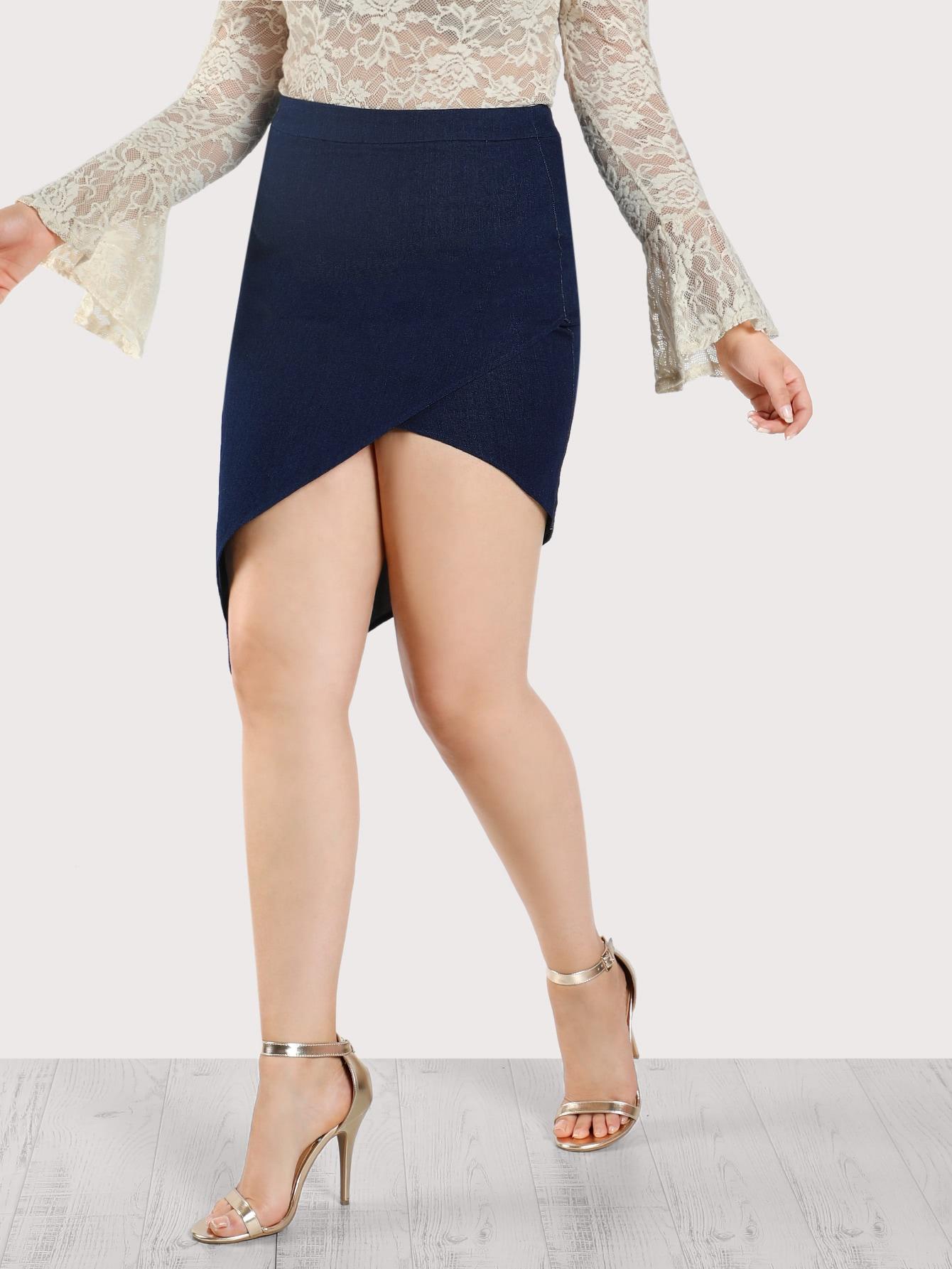 Asymmetric Hem Denim Skirt DENIM