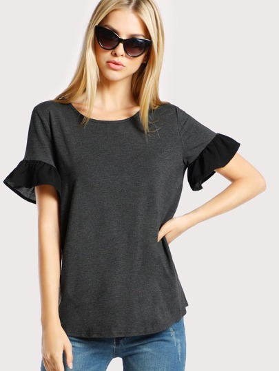 Contrast Ruffle Trim Heather Knit Tee