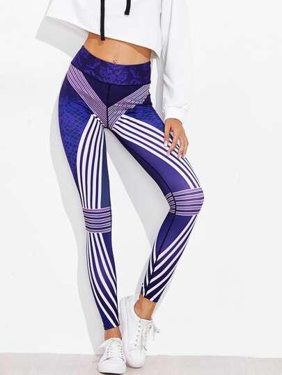 Contrast Striped Printed Random Skinny Leggings