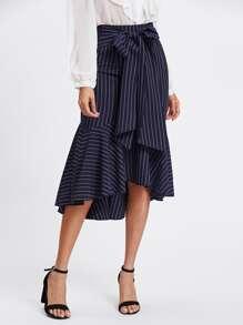 Fishtail Dip Hem Striped Skirt
