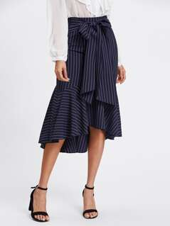 Fishtail Dip Hem Striped Skirt