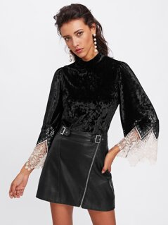 Contrast Lace Cuff Crushed Velvet Top