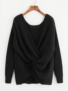 Twist Front Surplice Wrap Sweater