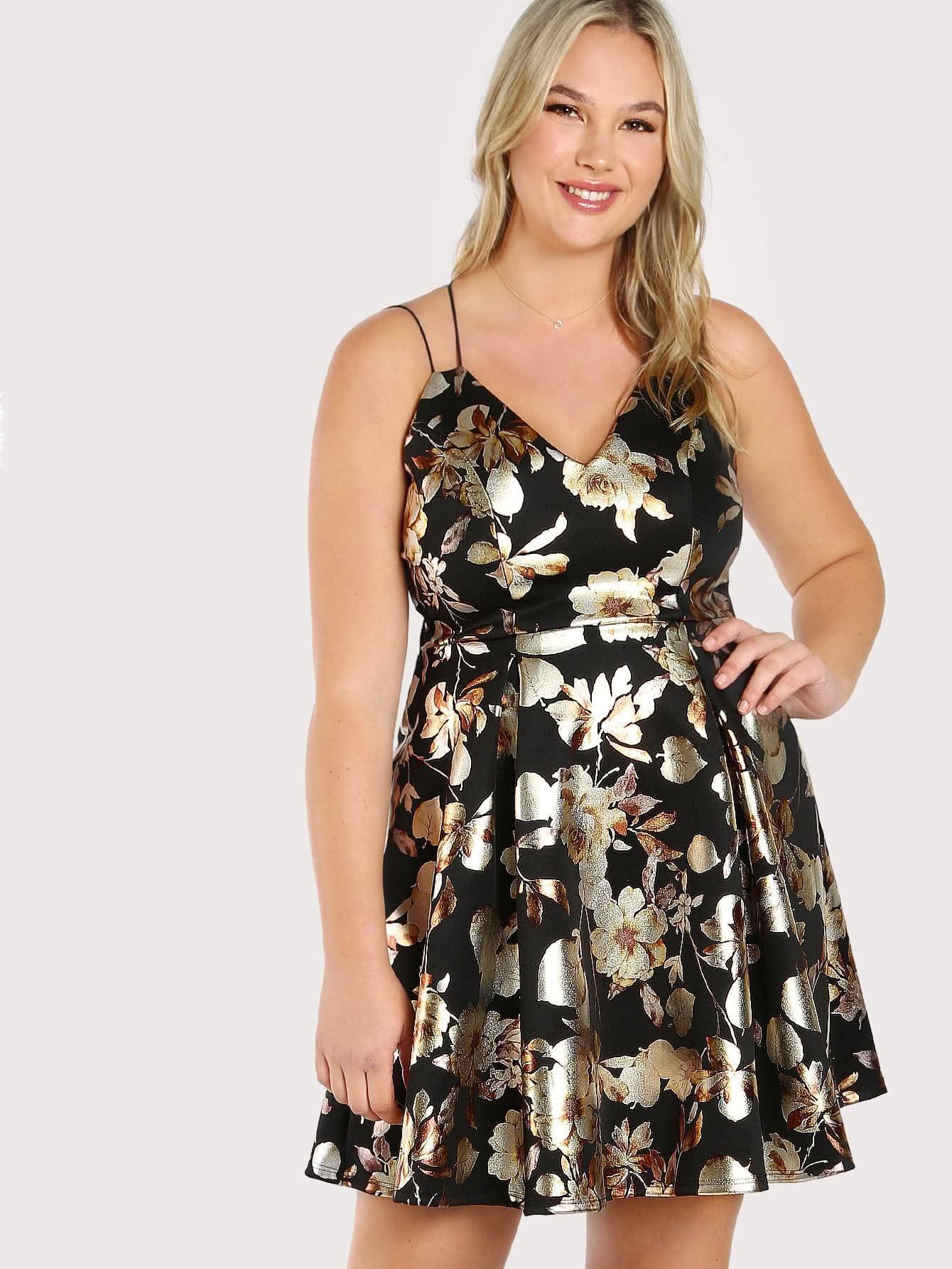 Metallic Floral Print Spaghetti Strap Dress BLACK lole капри lsw0963 sydney capri 10 black