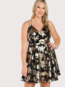 Metallic Floral Print Spaghetti Strap Dress BLACK