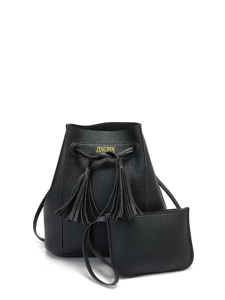 Tassel Drawstring Texture Bucket Bag With Clutch