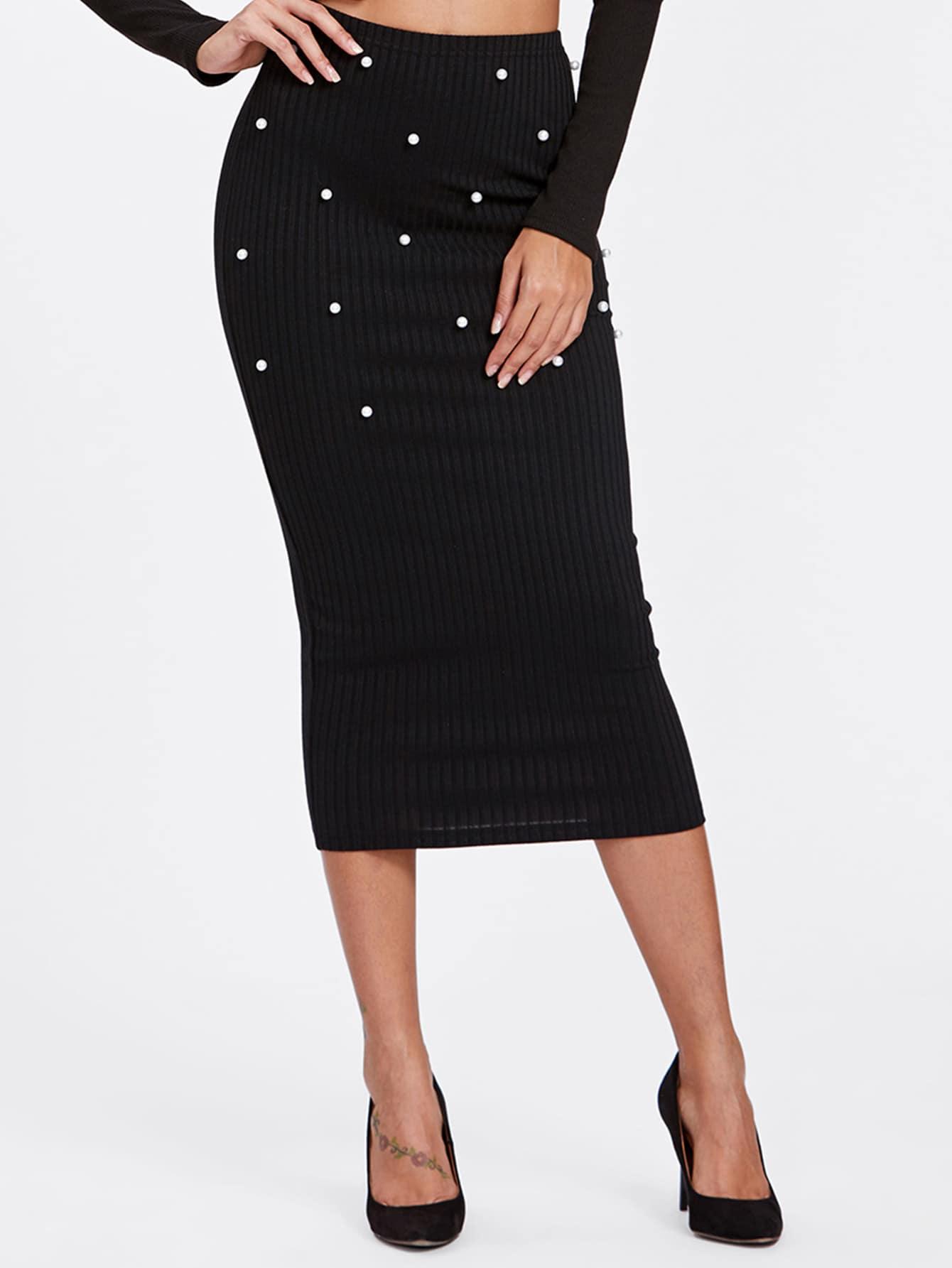 Pearl Beading Rib Knit Fitted Skirt skirt170930702