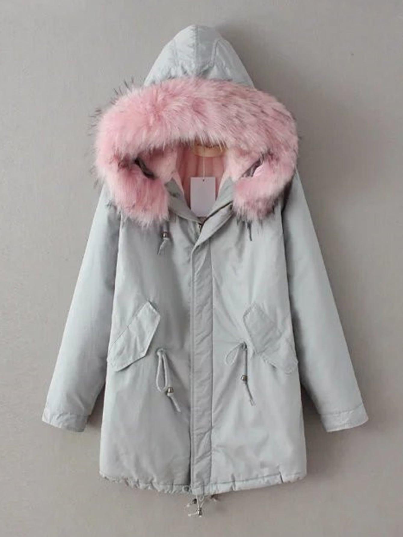Contrast Faux Fur Hooded Parka Coat