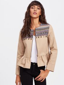 Embroidery Jacquard Coin Detail Ruffle Hem Jacket