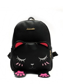 Cat Shaped Metal Detail Front PU Backpack