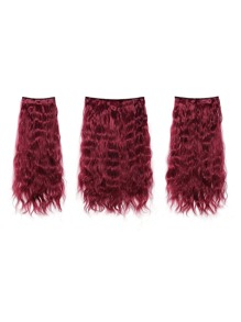 Burgundy Clip In Curly Hair Extension 3pcs
