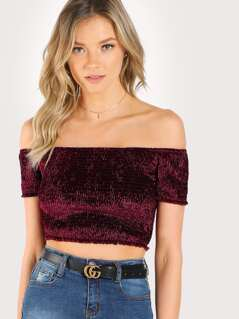 Off Shoulder Smocked Velvet Top
