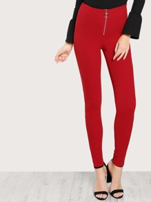 Straight Leg Solid O Ring Zipper Pants RED