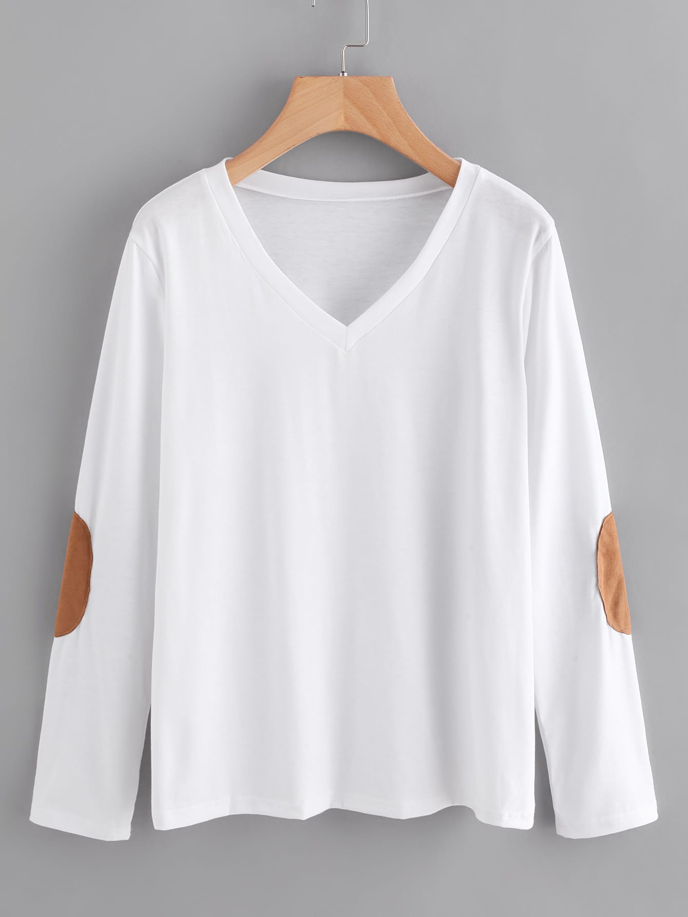 V Neckline Elbow Patch T-shirt  цена и фото