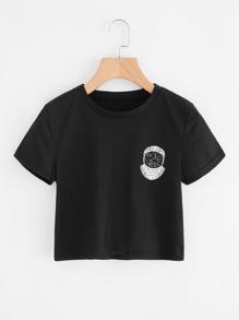 Astronaut Print Crop Tee