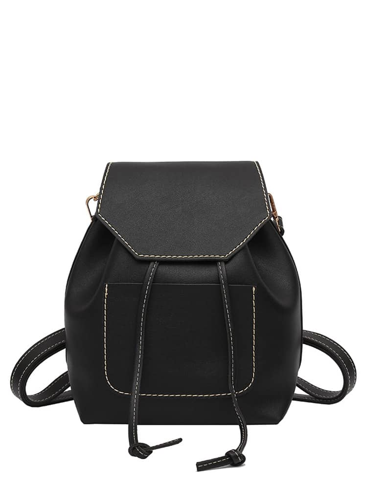 Pocket Front Drawstring Flap PU Backpack
