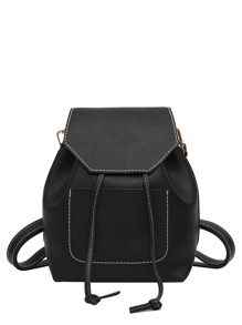 Pocket Front Drawstring Flap PU Backpack