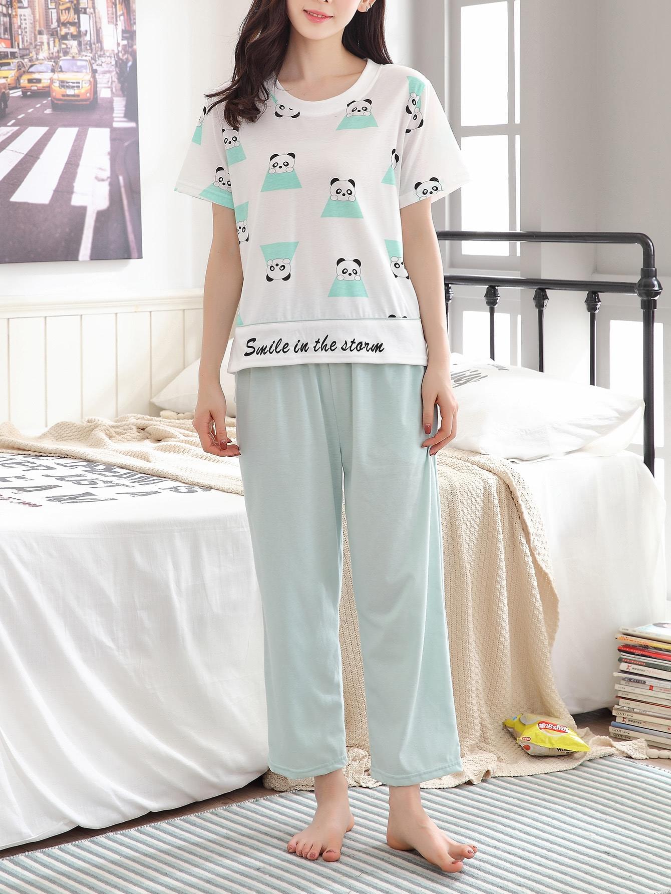 Panda Print Top And Pants Pajama Set flamingo and jungle leaf print top and pants pajama set
