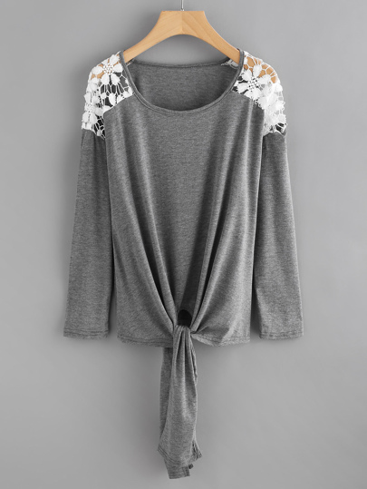 Contrast Crochet Knot Front Marled Tee